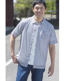 【MADE IN JAPAN】ラッセルストライプオーバーシャツ≪接触冷感+速乾≫