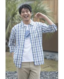 【MADE IN JAPAN】ラッセルCK7分袖オーバーシャツ≪接触冷感+速乾≫