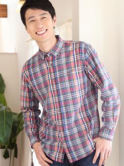 スラブマルチカラーチェックシャツ