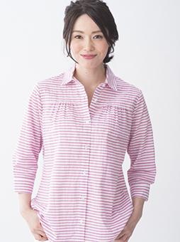 胸ギャザーパナマボーダーシャツ