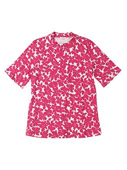 超長綿ハイネック 花柄5部Tシャツ