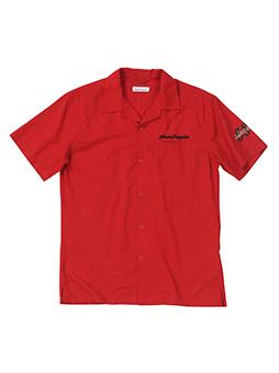 スカジャン風バック刺繍オープンカラーシャツ