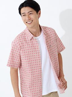 リップルフラワープリントシャツ
