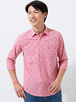 ジャガードシャドー水玉7分袖シャツ