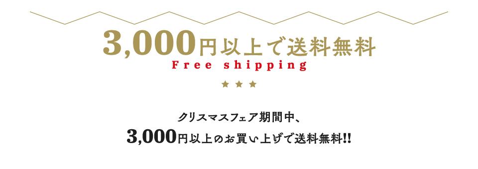クリスマスフェア期間中3,000円以上お買い上げで送料無料!!