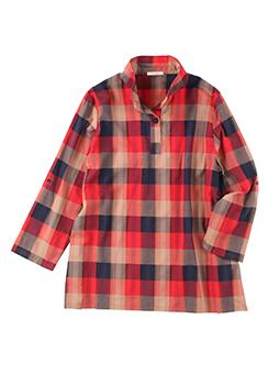 スタンド衿ブロックチェックシャツ