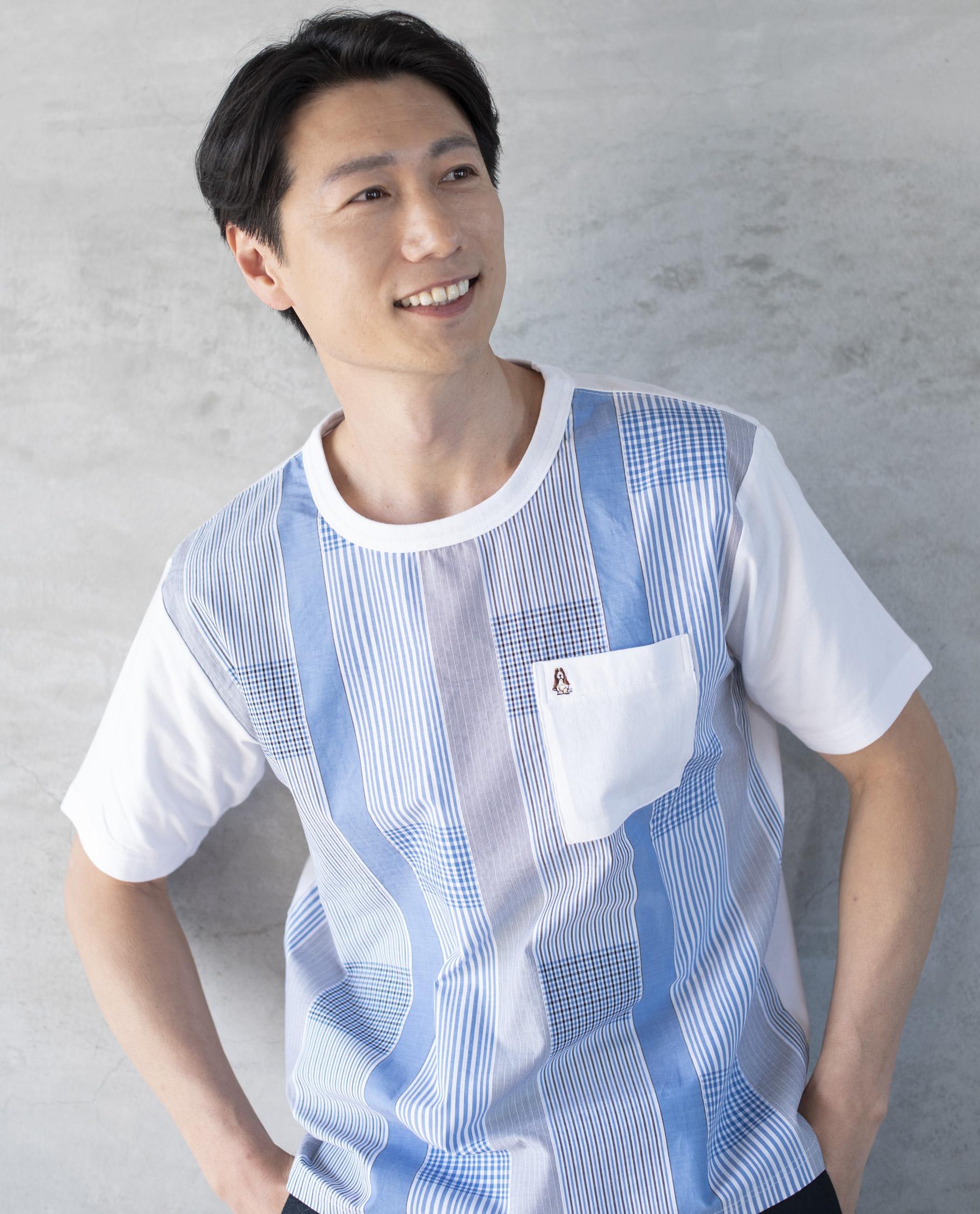 天竺×ストライプ布帛HBTシャツ
