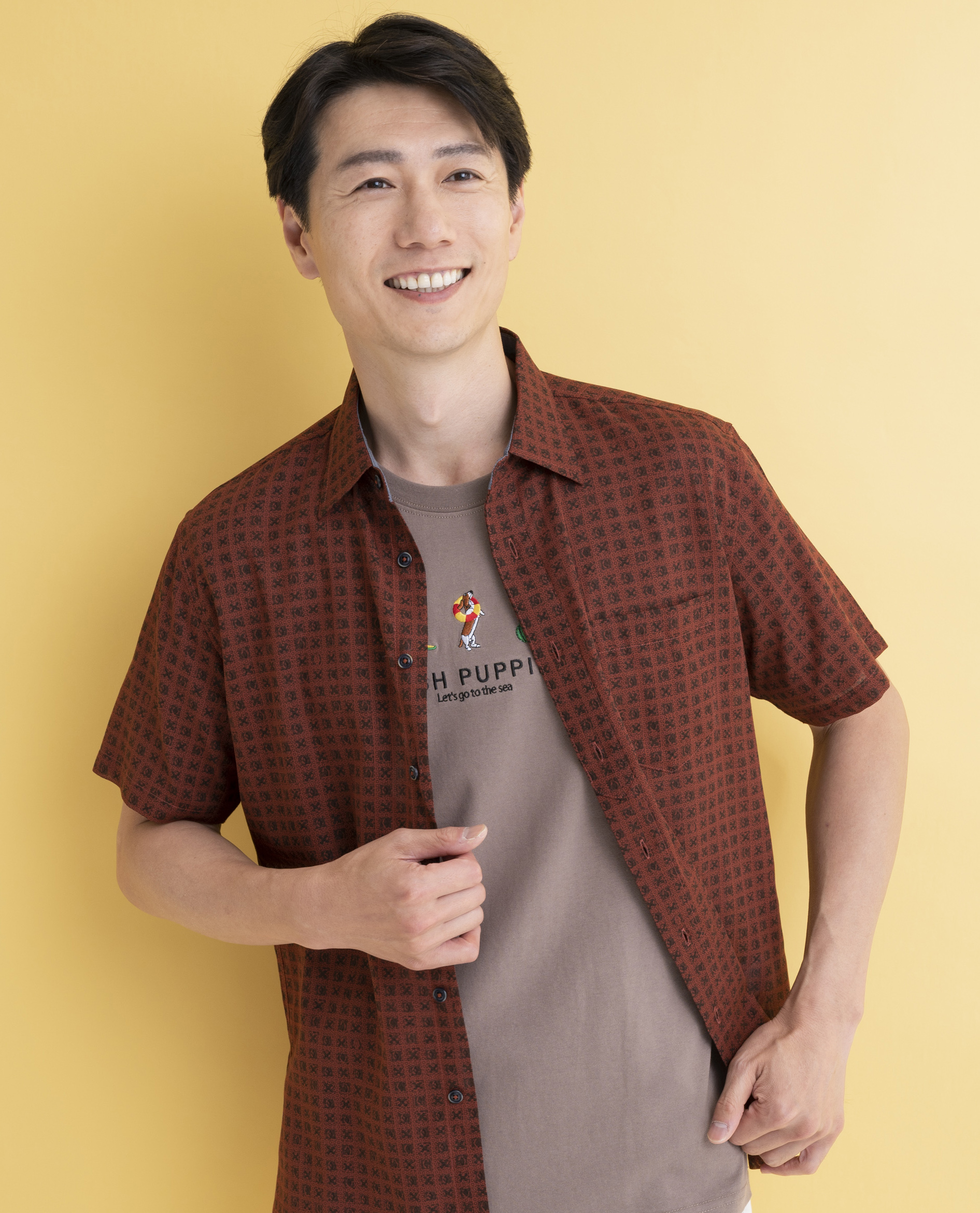 【JAPANFABRIC】パナマボイルプリントフェイクプルシャツ