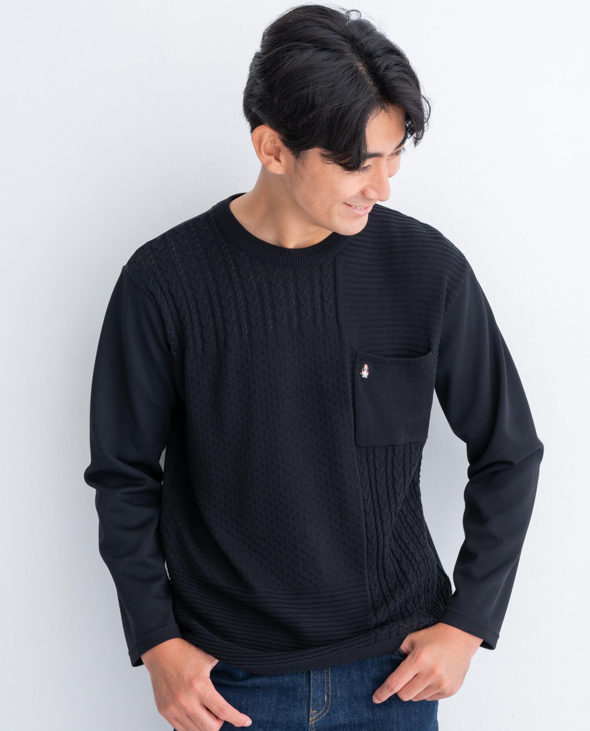 12GニットポンチHBポケット付き長袖Tシャツ