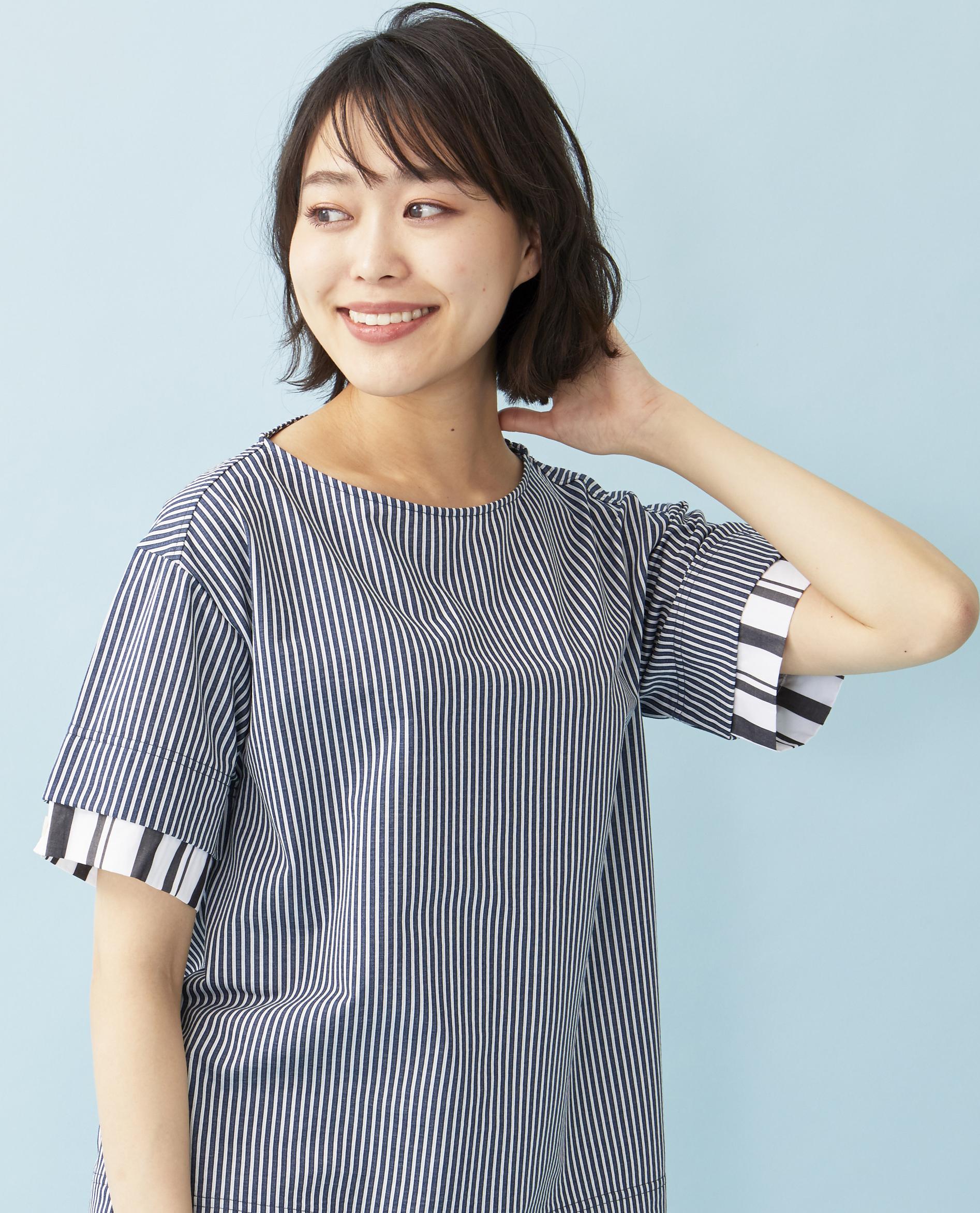 レイヤード風布帛見えカットTシャツ