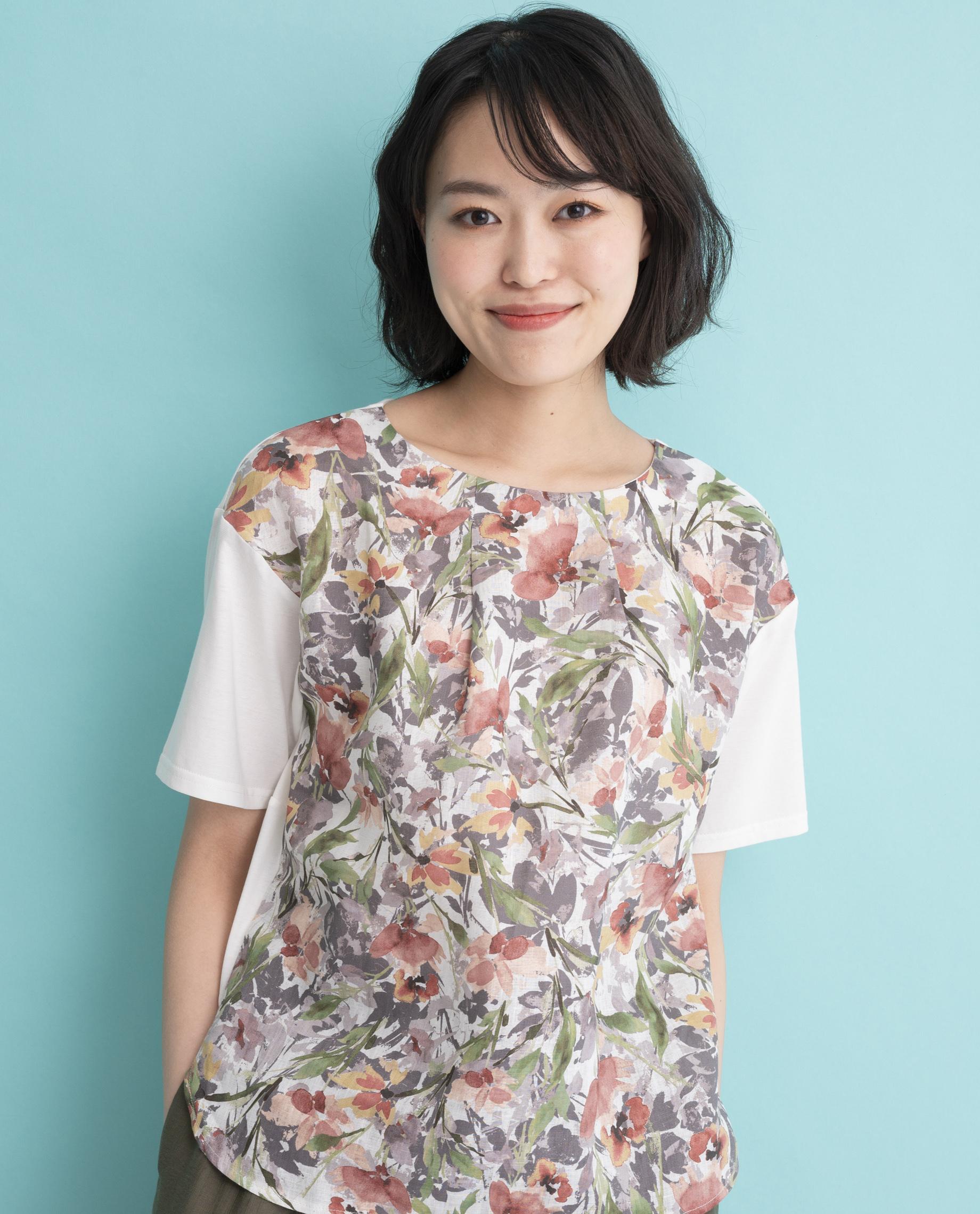 【MADE IN JAPAN】リネン水彩花柄切替Tシャツ