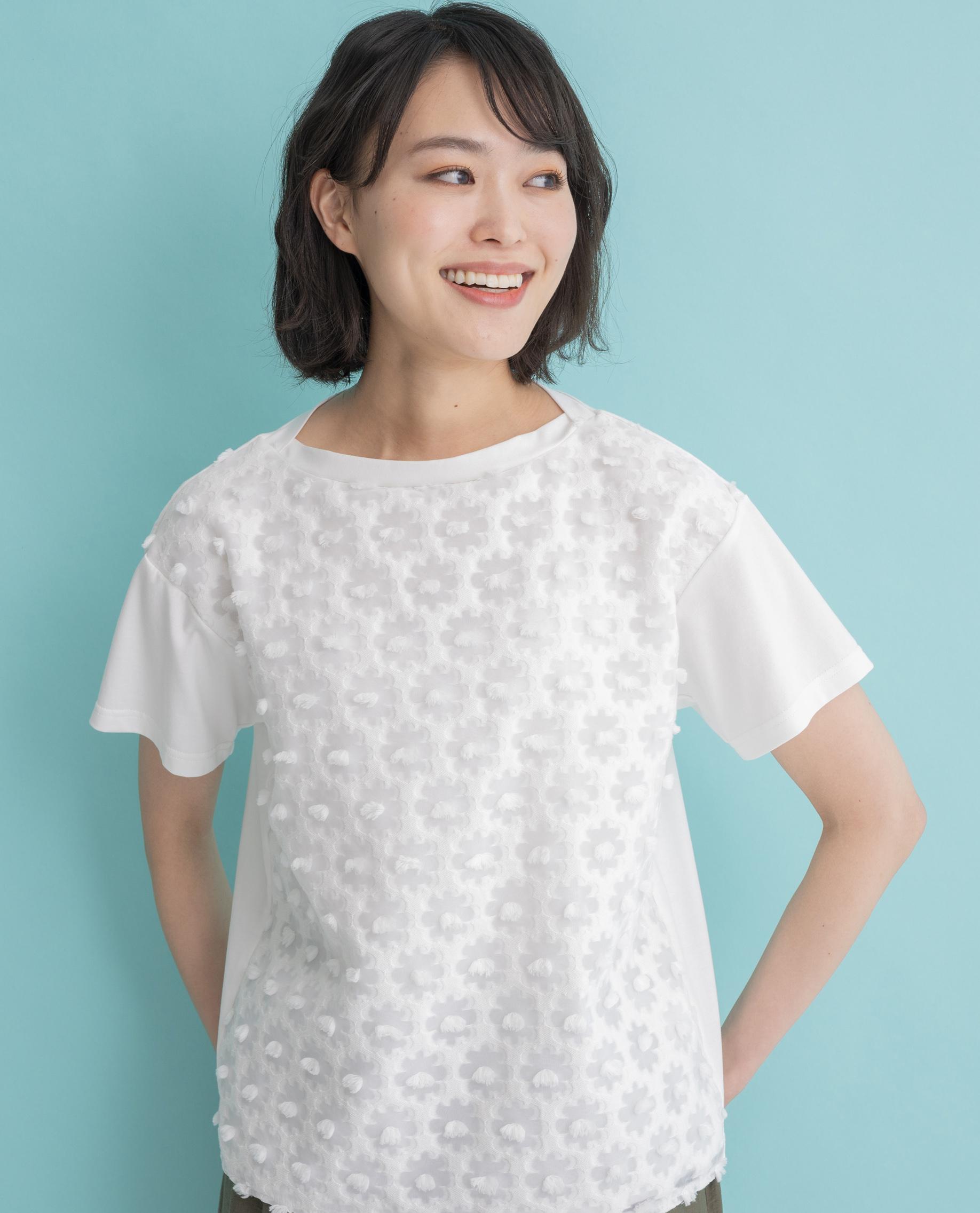 【MADE IN JAPAN】ボンボン花レース切替Tシャツ