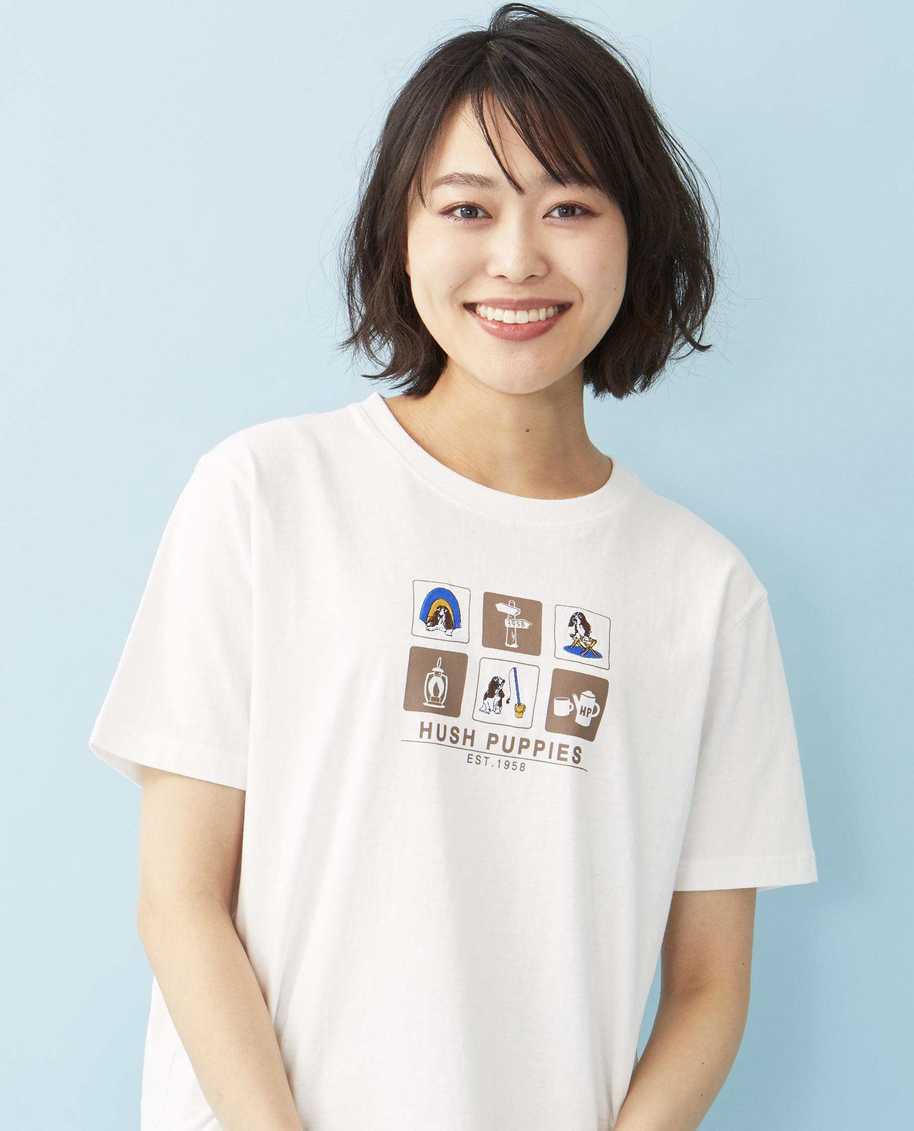 アウトドア犬刺繍Tシャツ