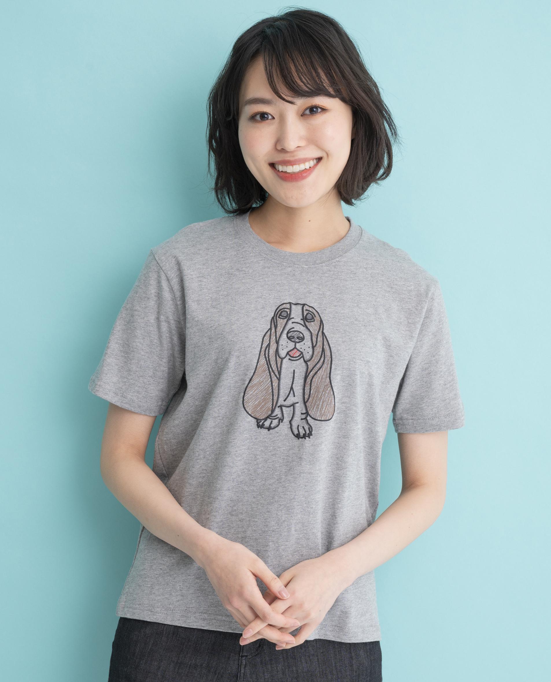 犬刺繍風PT Tシャツ