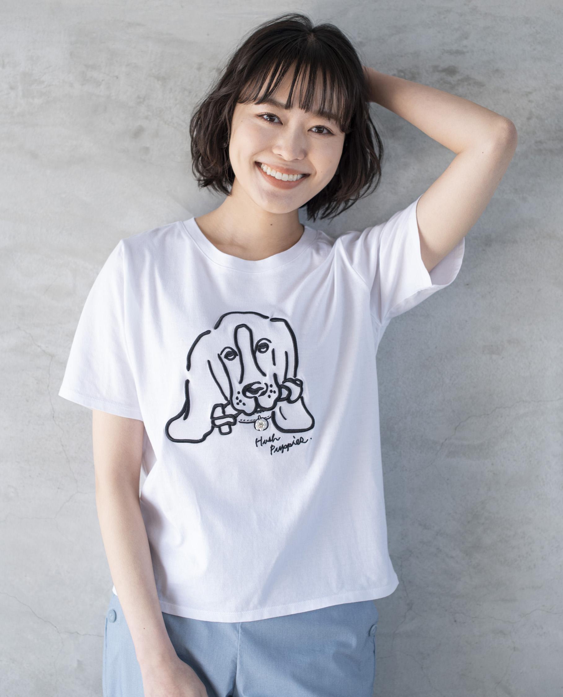 骨犬ビジュー付大人Tシャツ