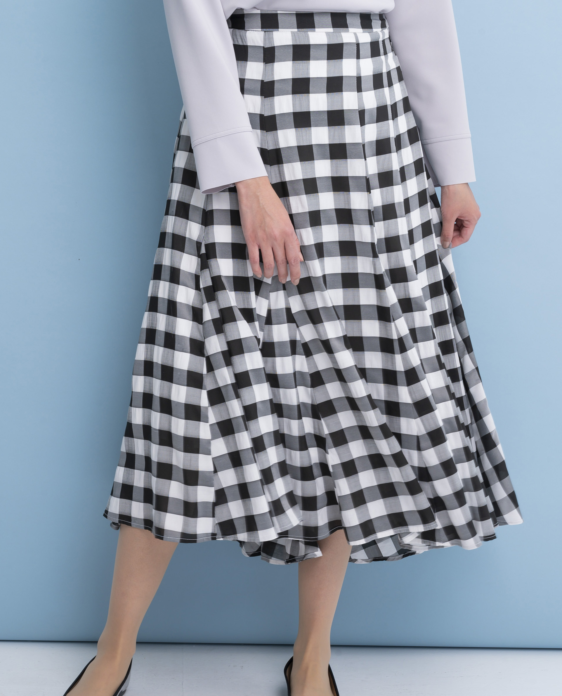 ブロックチェック裾フレアースカート