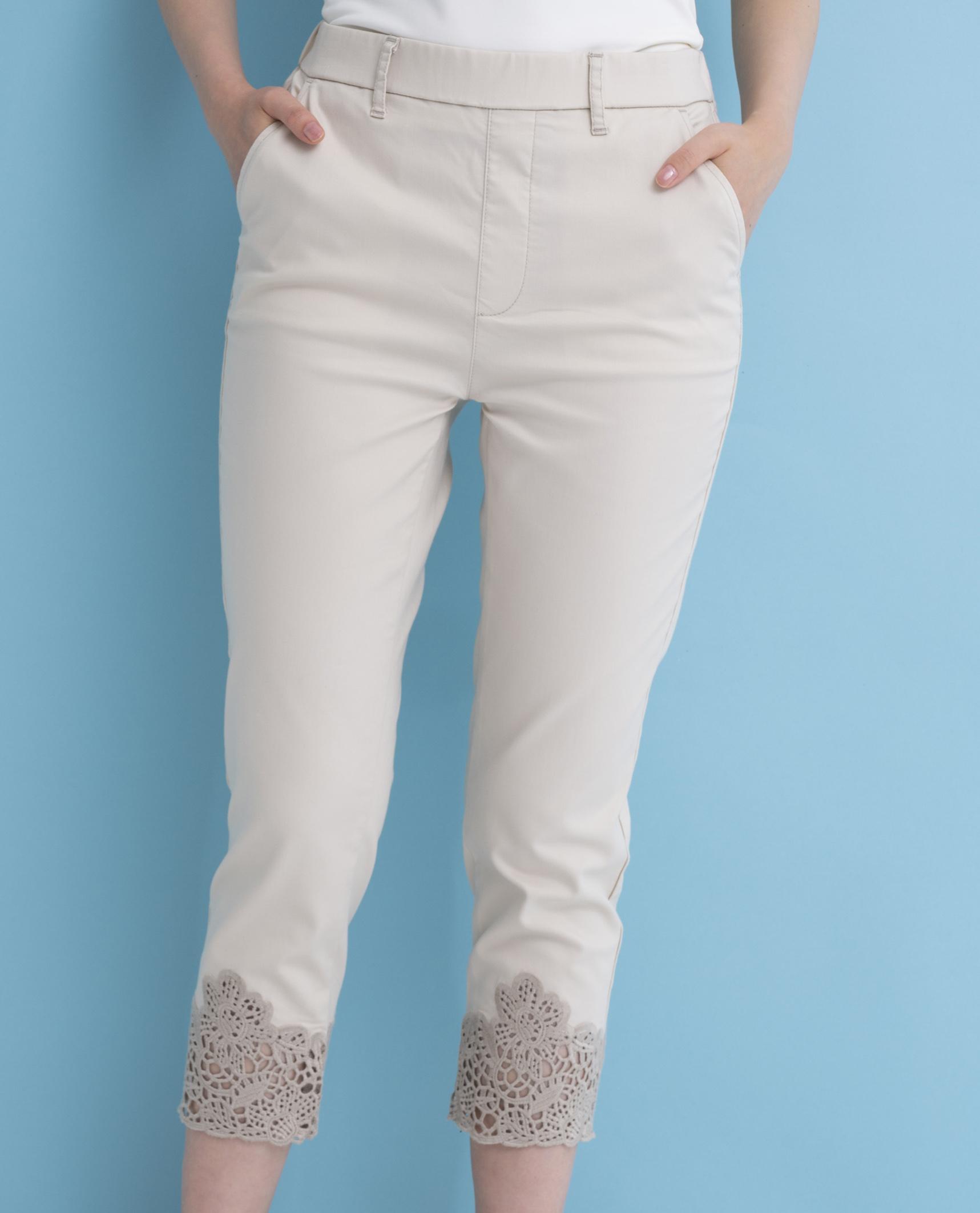 裾カット刺繍テンセルアンクルパンツ