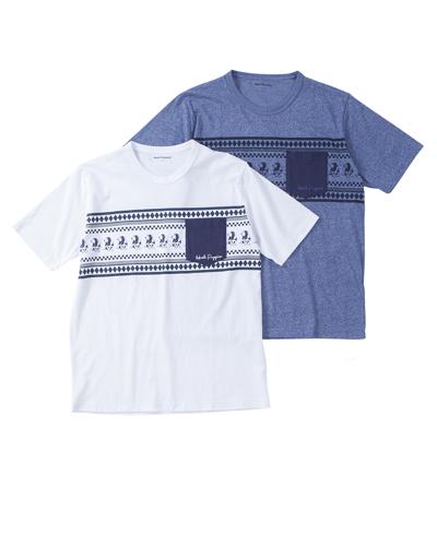 モチーフネイティブ柄プリントTシャツ