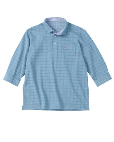 鹿の子地柄7分袖ポロシャツ