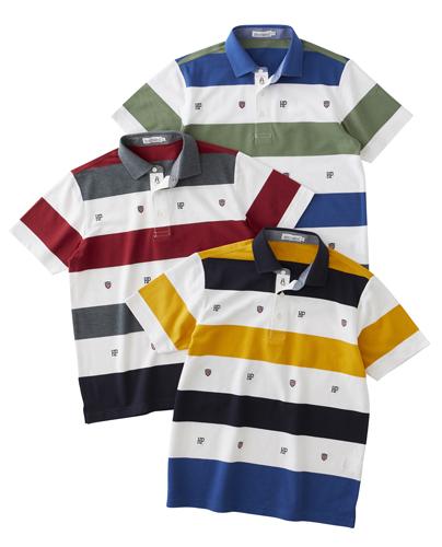 鹿の子ボーダーエンブレム刺繍ポロシャツ