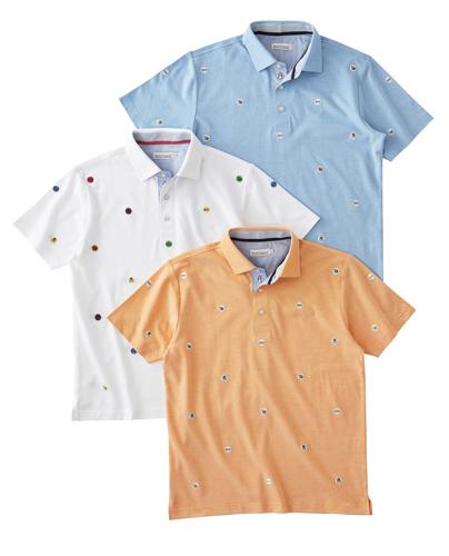 鹿の子飛び柄刺繍ポロシャツ