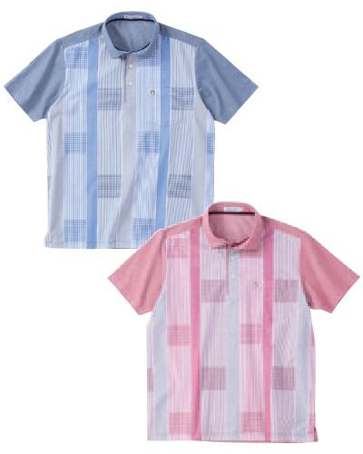 鹿の子×ストライプ布帛HBポロシャツ