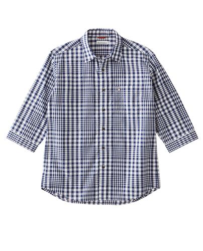 2重織チェック7分袖シャツ