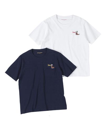 吠え犬刺繍ポケ付Tシャツ